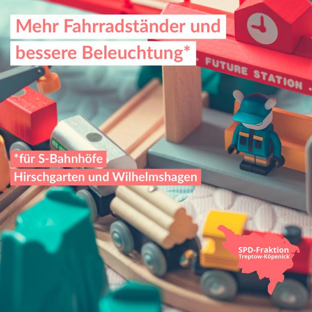 Fahrradständer S-Bahnhöfe Hirschgarten und Wilhelmshagen